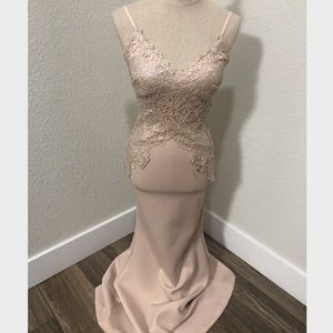 Cream Pink Lace gown